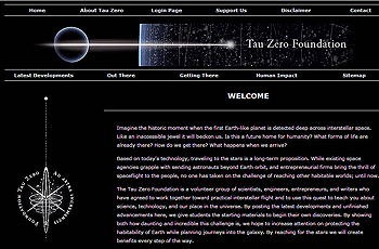 screenshot Tau Zero Foundation